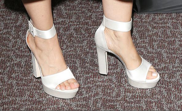 white platform high heels