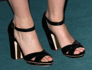 black high heel platform sandals